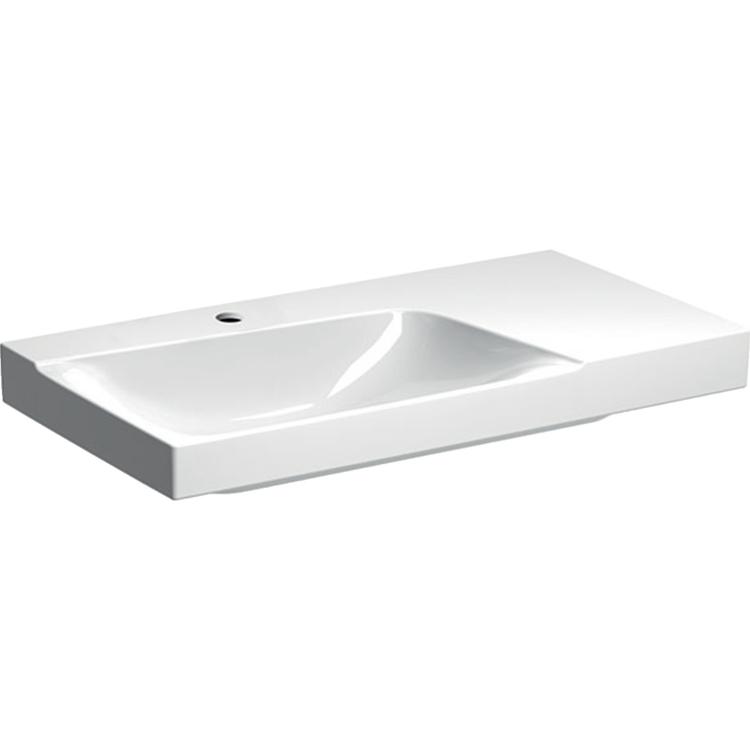 Geberit XENO² lavabo asimmetrico da 90 cm con ripiano da appoggio a destra, monoforo, colore bianco/KeraTect e finitura lucido 500.533.01.1