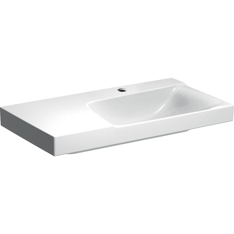 Geberit XENO² lavabo asimmetrico da 90 cm con ripiano da appoggio a sinistra, monoforo, colore bianco/KeraTect e finitura lucido 500.535.01.1