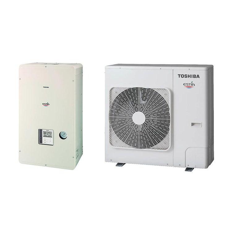Toshiba ESTIA Sistema composto da pompa di calore Inverter 8 kW con unità idronica con resistenza elettrica di backup da 3 kW HWS-805H-E+HWS-805XWHM3-E