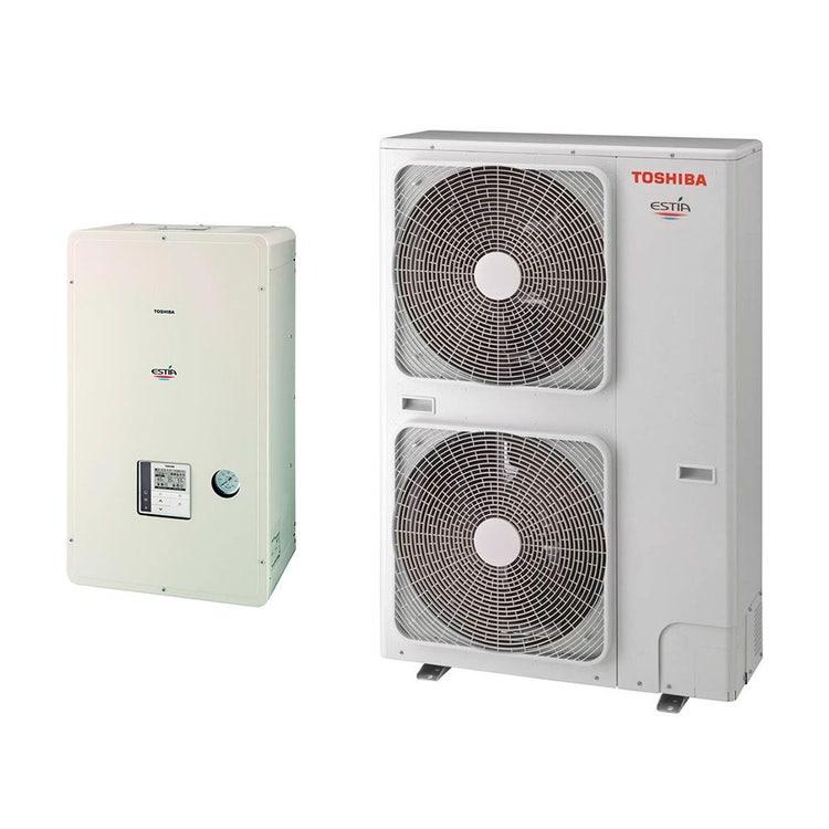Toshiba ESTIA Sistema composto da pompa di calore Inverter 16 kW trifase con unità idronica con resistenza elettrica di backup da 6 kW trifase HWS-1605H8-E+HWS-1405XWHT6-E