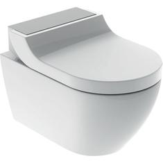 Immagine di Geberit AQUACLEAN TUMA COMFORT vaso sospeso con funzione bidet, colore bianco con cover finitura acciaio inox spazzolato 146.290.FW.1