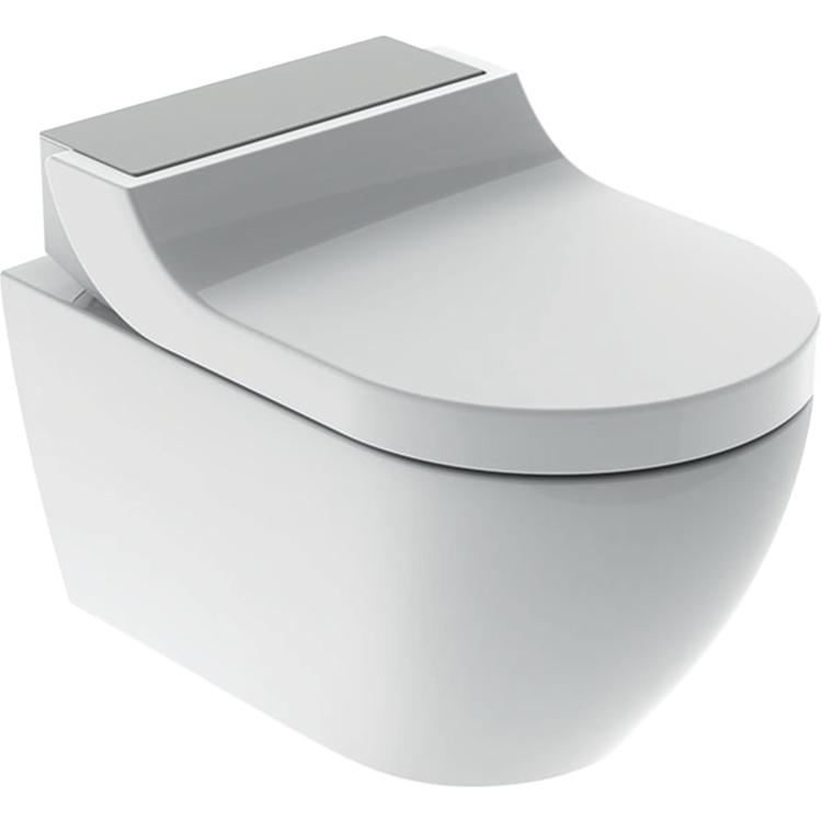 Geberit AQUACLEAN TUMA COMFORT vaso sospeso con funzione bidet, colore bianco con cover finitura acciaio inox spazzolato 146.290.FW.1
