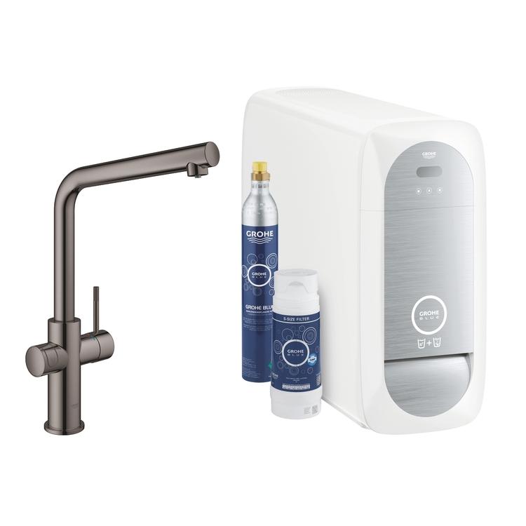 Grohe BLUE HOME sistema completo rubinetto bocca a L e refrigeratore con sistema WiFi finitura grafite lucido 31454A01