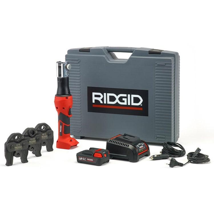 Immagine di Ridgid RP 219 Pressatrice a batteria completo di ganasce TH 16-20-25 mm, caricabatterie veloce da 230 V, batteria a Li-Ion 18 V 2.5 Ah e cassetta di trasporto 69098