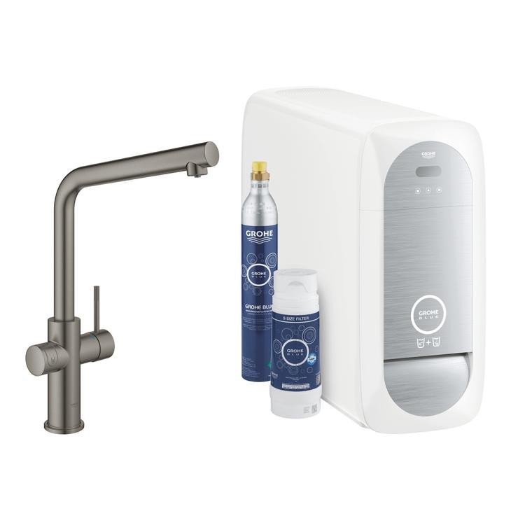 Grohe BLUE HOME sistema completo rubinetto bocca a L e refrigeratore con sistema WiFi finitura grafite spazzolato 31454AL1