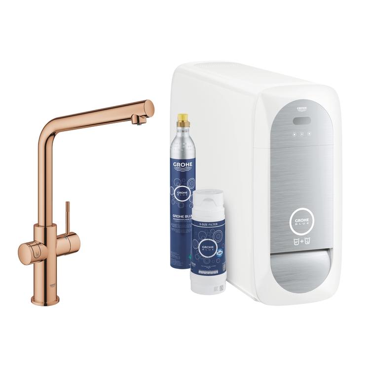 Grohe BLUE HOME sistema completo rubinetto bocca a L e refrigeratore con sistema WiFi finitura oro rosa lucido 31454DA1