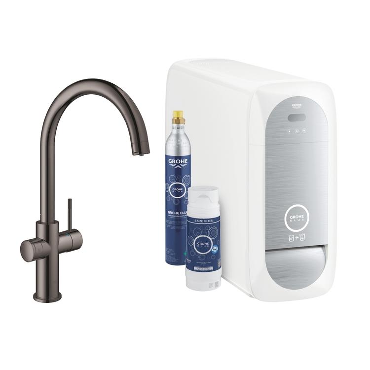 Grohe BLUE HOME sistema completo rubinetto con bocca a C e refrigeratore con sistema WiFi finitura grafite lucido 31455A01