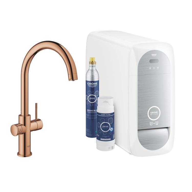 Grohe BLUE HOME sistema completo rubinetto con bocca a C e refrigeratore con sistema WiFi finitura oro rosa lucido 31455DA1
