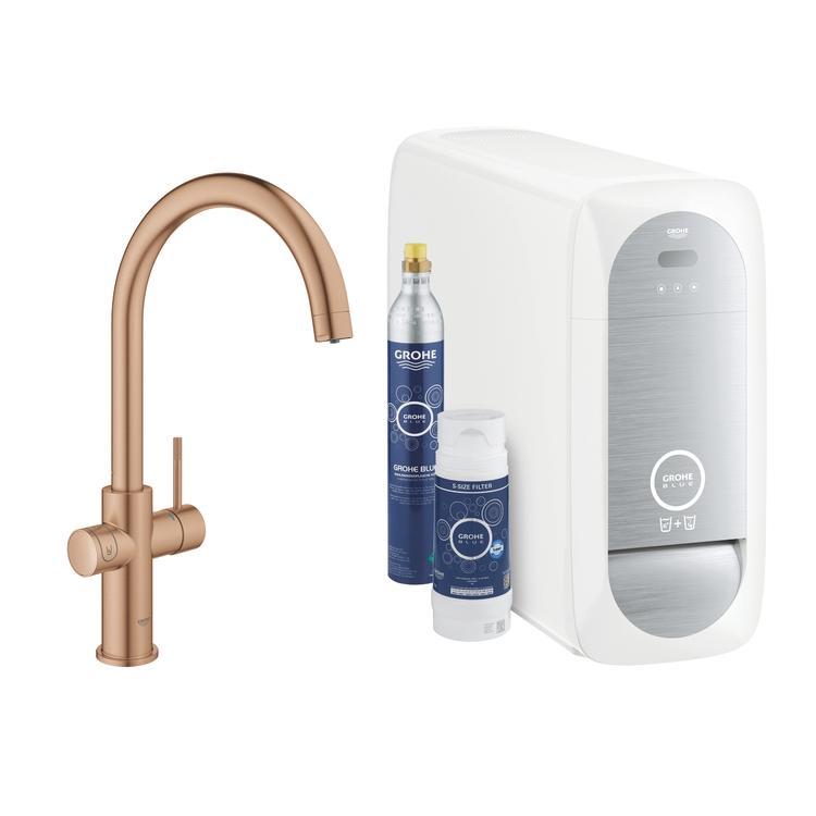 Grohe BLUE HOME sistema completo rubinetto con bocca a C e refrigeratore con sistema WiFi finitura oro rosa spazzolato 31455DL1