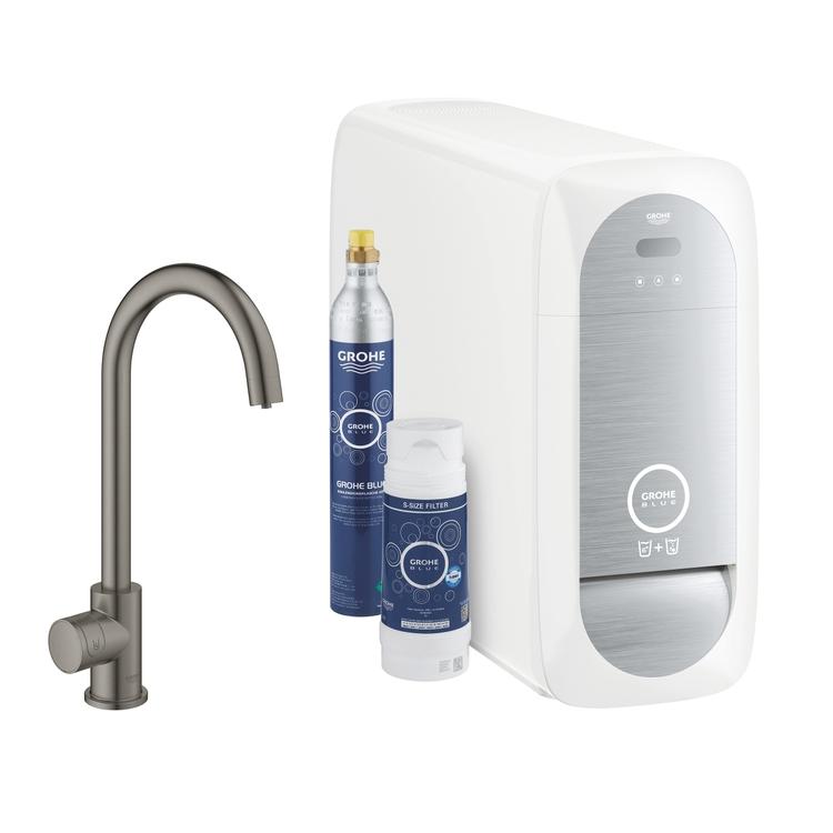Grohe BLUE HOME sistema completo mono rubinetto bocca a C e refrigeratore con sistema WiFi finitura grafite spazzolato 31498AL1