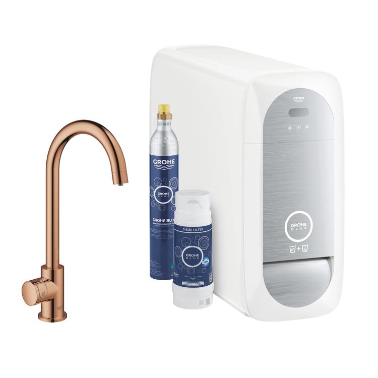 Grohe BLUE HOME sistema completo mono rubinetto bocca a C e refrigeratore con sistema WiFi finitura oro rosa lucido 31498DA1
