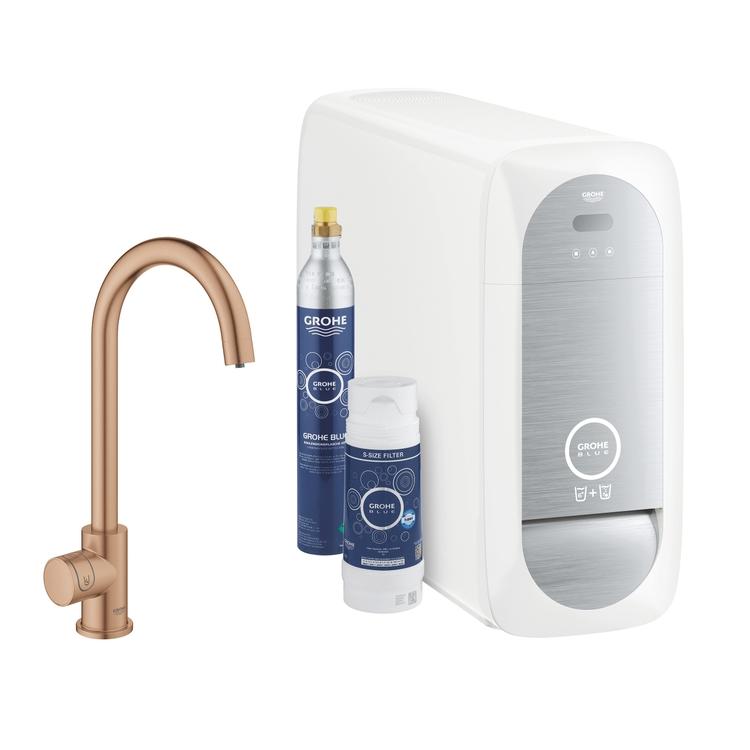 Grohe BLUE HOME sistema completo mono rubinetto bocca a C e refrigeratore con sistema WiFi finitura oro rosa spazzolato 31498DL1