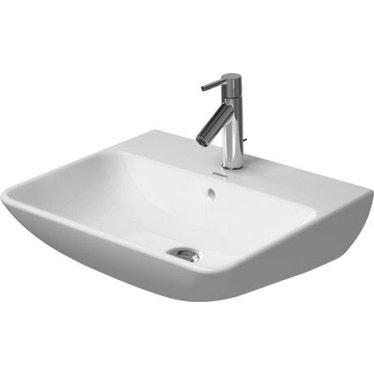 Duravit ME BY STARCK lavabo 55 cm monoforo, con troppopieno, con bordo per rubinetteria, lato inferiore smaltato, colore bianco finitura opaco 2335553200