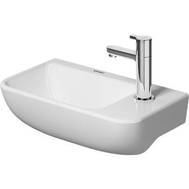 Duravit ME BY STARCK lavamani 40 cm monoforo, senza troppopieno, con bordo per rubinetteria, con foro per rubinetteria a destra, lato inferiore smaltato, WonderGliss, colore bianco finitura opaco 07174032001