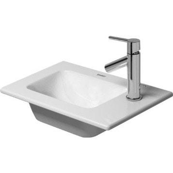 Duravit ME BY STARCK lavamani consolle 43 cm monoforo, con bordo per rubinetteria, senza troppopieno, WonderGliss, colore bianco finitura opaco 07234332411