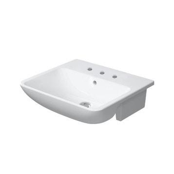 Duravit ME BY STARCK lavabo semincasso 55 cm con 3 fori per rubinetteria, con troppopieno, con bordo per rubinetteria, WonderGliss, colore bianco finitura opaco 03785532301