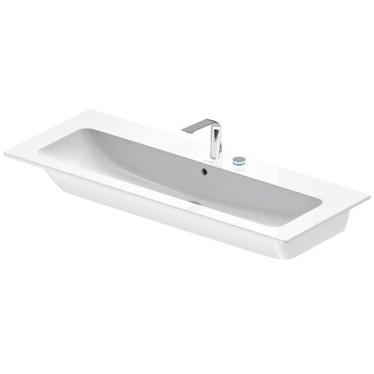 Duravit ME BY STARCK lavabo consolle 123 cm con 2 fori per rubinetteria, con troppopieno, con bordo per rubinetteria, WonderGliss, colore bianco 23611200581