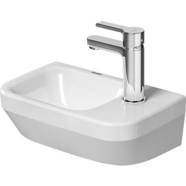 Duravit DURASYSTEM lavamani 36 cm monoforo, senza troppopieno, con bordo per rubinetteria, con foro per rubinetteria a destra, lato inferiore smaltato, colore bianco 0713360000
