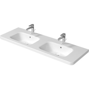 Duravit DURASTYLE lavabo doppio 140 cm monoforo, con troppopieno, con bordo per rubinetteria, lato inferiore smaltato, WonderGliss, colore bianco 23571400001
