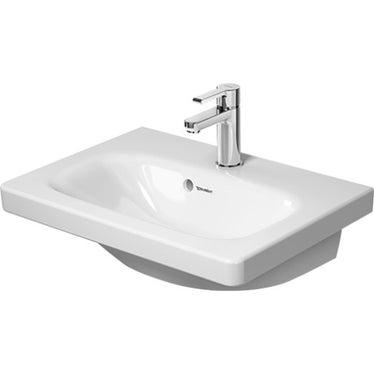 Duravit DURASTYLE lavabo consolle Compact 55 cm con 3 fori per rubinetteria, con troppopieno, con bordo per rubinetteria, lato inferiore smaltato, WonderGliss, colore bianco 23375500301