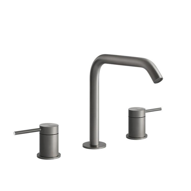 """Gessi 316 FLESSA gruppo lavabo tre fori con bocca H.20 cm flessibili di collegamento con attacco da 3/8"""" senza scarico, finitura Copper Brushed PVD 54012#708"""