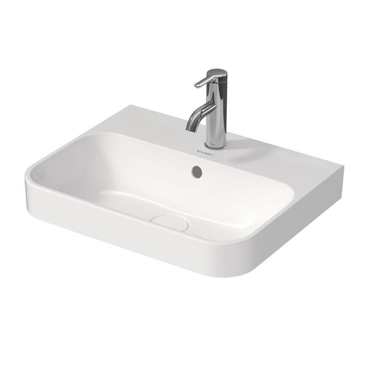 Duravit HAPPY D.2 PLUS bacinella da appoggio soprapiano 60 cm con rettifica, senza foro, con troppopieno e bordo per rubinetteria, colore bianco 2360600060