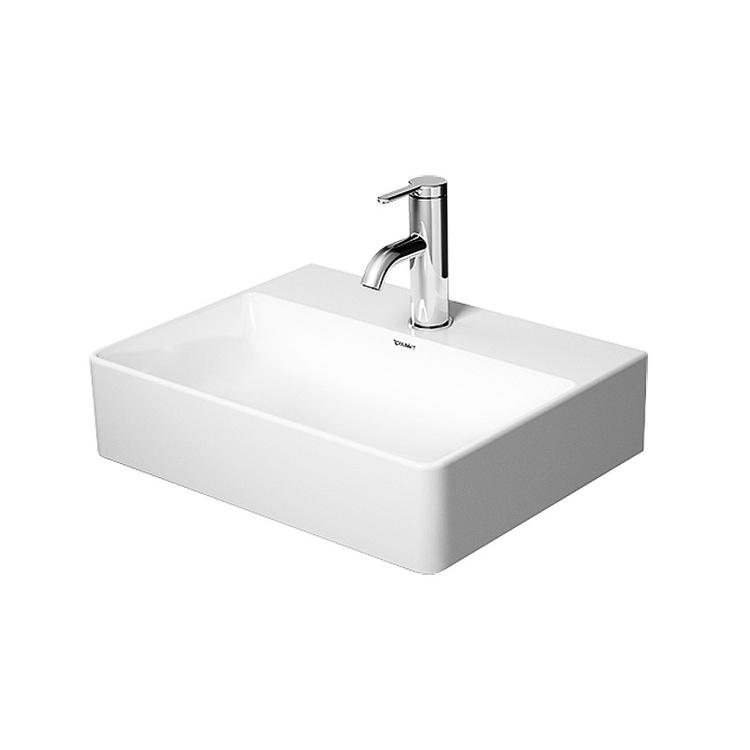 Duravit DURASQUARE lavamani consolle 45 cm monoforo, senza troppopieno, con bordo per rubinetteria, lato inferiore smaltato, WonderGliss, colore bianco 07324500411