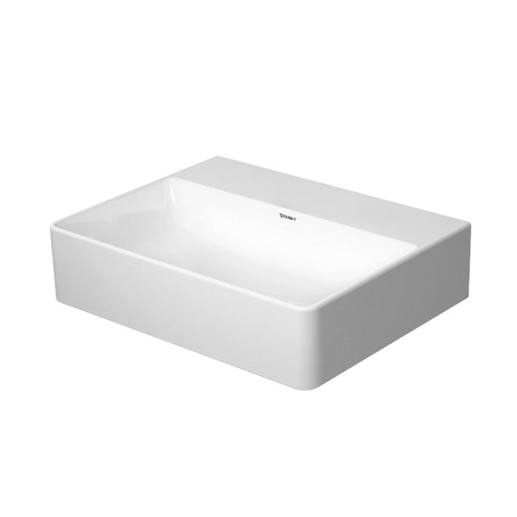 Duravit DURASQUARE lavamani consolle 45 cm senza foro per rubinetteria, senza troppopieno, con bordo per rubinetteria, lato inferiore smaltato, WonderGliss, colore bianco 07324500701