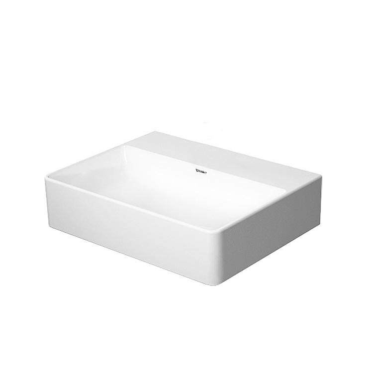 Duravit DURASQUARE lavamani rettificato 45 cm senza foro per rubinetteria, senza troppopieno, con bordo per rubinetteria, WonderGliss, colore bianco 07324500791
