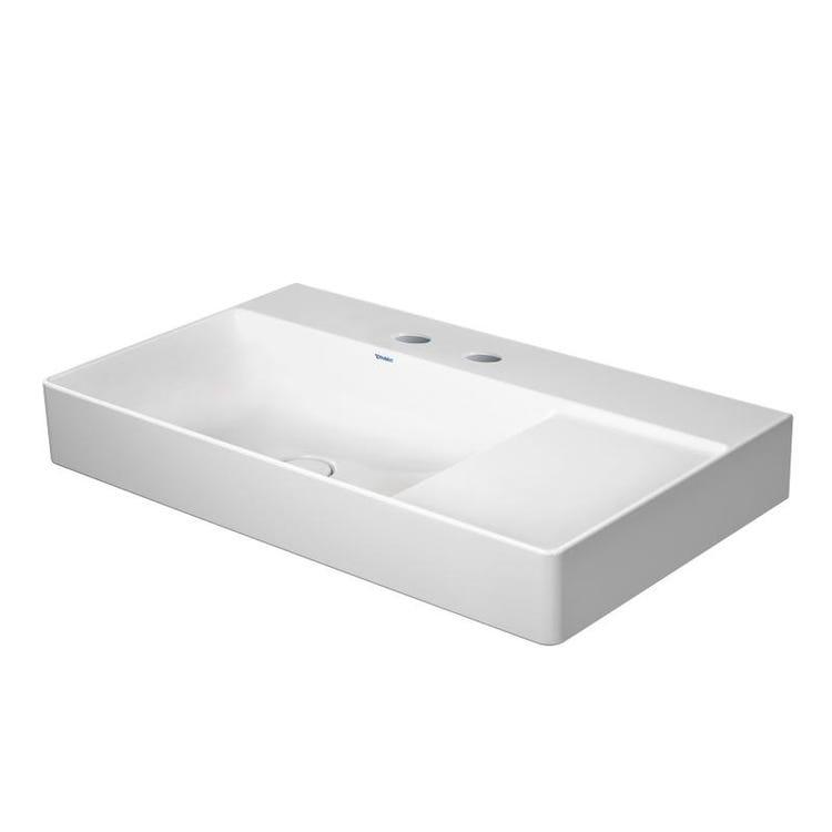 Immagine di Duravit DURASQUARE lavabo consolle asimmetrico 80 cm con 2 fori per rubinetteria, senza troppopieno, con bordo per rubinetteria, bacino a sinistra, lato inferiore smaltato, WonderGliss, colore bianco 23488000401