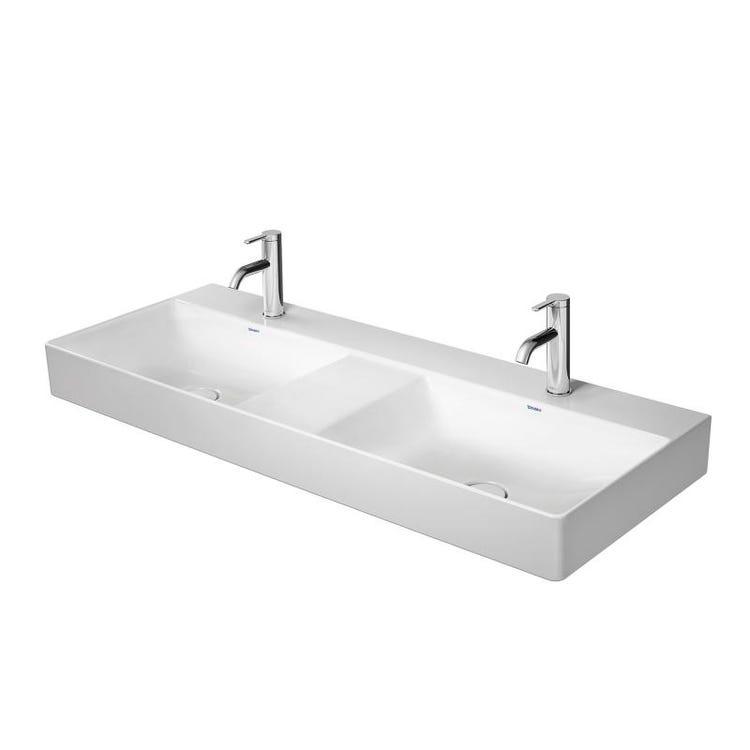 Duravit DURASQUARE lavabo consolle doppio 120 cm monoforo, senza troppopieno, con bordo per rubinetteria, lato inferiore smaltato, colore bianco 2353120041
