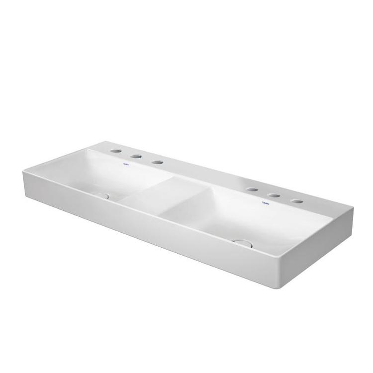 Duravit DURASQUARE lavabo consolle doppio 120 cm con 3 fori per rubinetteria, senza troppopieno, con bordo per rubinetteria, lato inferiore smaltato, colore bianco 2353120044