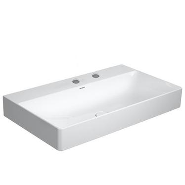 Duravit DURASQUARE lavabo consolle rettificato 80 cm con 2 fori per rubinetteria, senza troppopieno, con bordo per rubinetteria, WonderGliss, colore bianco 23538000141