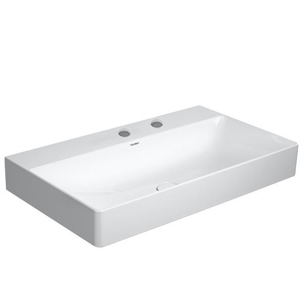 Immagine di Duravit DURASQUARE lavabo consolle rettificato 80 cm con 2 fori per rubinetteria, senza troppopieno, con bordo per rubinetteria, WonderGliss, colore bianco 23538000141