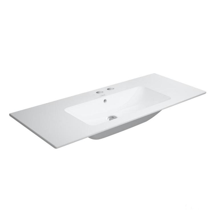 Duravit ME BY STARCK lavabo consolle 123 cm con 2 fori per rubinetteria, con troppopieno, con bordo per rubinetteria, WonderGliss, colore bianco 23361200581