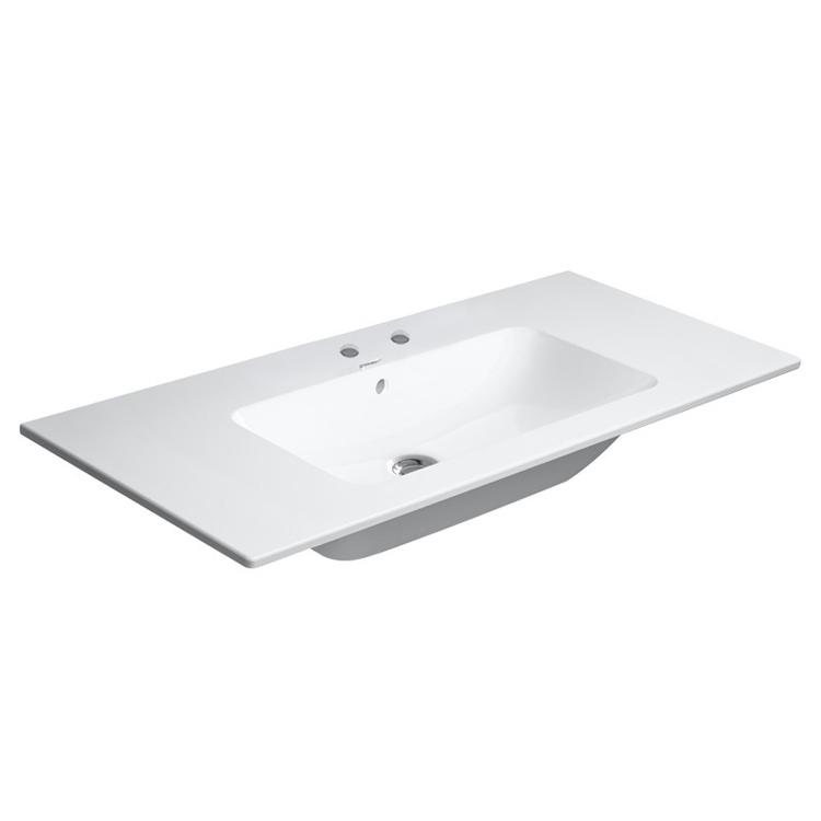 Duravit ME BY STARCK lavabo consolle 103 cm con 2 fori per rubinetteria, con troppopieno, con bordo per rubinetteria, WonderGliss, colore bianco finitura opaco 23361032581