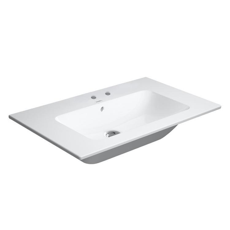 Duravit ME BY STARCK lavabo consolle 83 cm con 2 fori per rubinetteria, con troppopieno, con bordo per rubinetteria, WonderGliss, colore bianco finitura opaco 23368332581