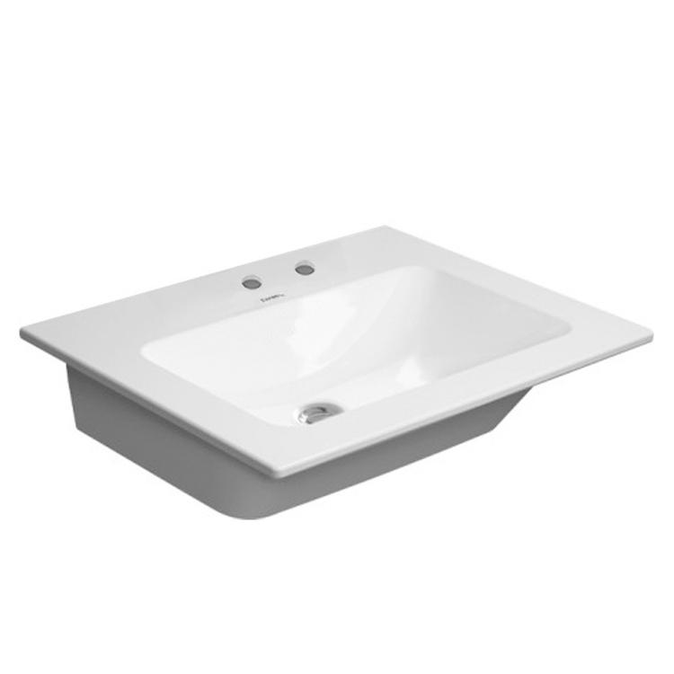 Duravit ME BY STARCK lavabo consolle 63 cm con 2 fori per rubinetteria, con troppopieno, con bordo per rubinetteria, WonderGliss, colore bianco 23366300581