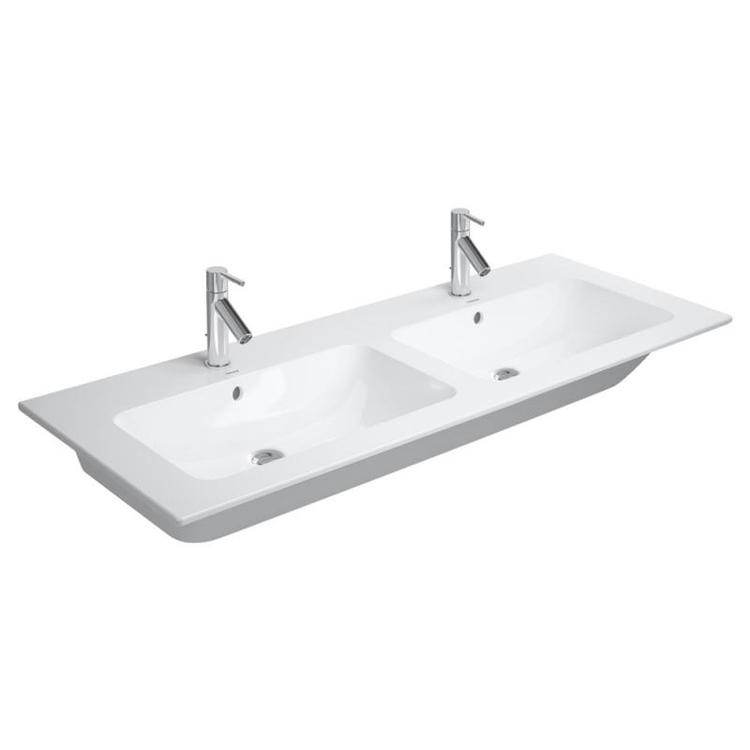 Duravit ME BY STARCK lavabo consolle doppio 130 cm monoforo, con troppopieno, con bordo per rubinetteria, WonderGliss, colore bianco finitura opaco 23361332001