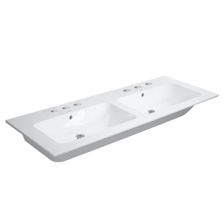 Duravit ME BY STARCK lavabo consolle doppio 130 cm con 3 fori per rubinetteria, con troppopieno, con bordo per rubinetteria, WonderGliss, colore bianco finitura opaco 23361332301