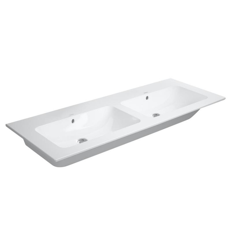 Duravit ME BY STARCK lavabo consolle doppio 130 cm senza foro per rubinetteria, con troppopieno, con bordo per rubinetteria, WonderGliss, colore bianco finitura opaco 23361332601