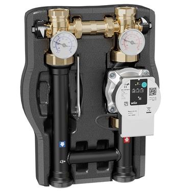 Caleffi gruppo di distribuzione diretta per impianti di riscaldamento e condizionamento con pompa UPML 25-105, Interasse 125 mm (Flusso verso l'alto, mandata lato DX - Flusso verso il basso, mandata lato SX) 165641UPM
