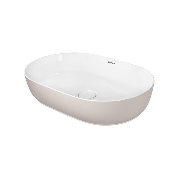 Duravit LUV bacinella da appoggio soprapiano 60 cm, con rettifica, senza troppopieno,  WonderGliss, interno colore bianco, esterno colore sabbia finitura opaco 03796021001