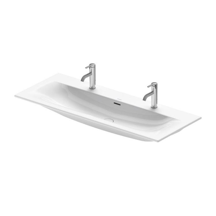 Duravit VIU lavabo consolle 123 cm, monoforo per doppia rubinetteria, con troppopieno, con bordo per rubinetteria, lato inferiore smaltato, colore bianco 2344120024