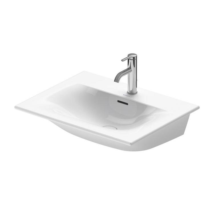 Duravit VIU lavamani consolle 53 cm, monoforo, con troppopieno, con bordo per rubinetteria, lato inferiore smaltato, WonderGliss, colore bianco 23445300001