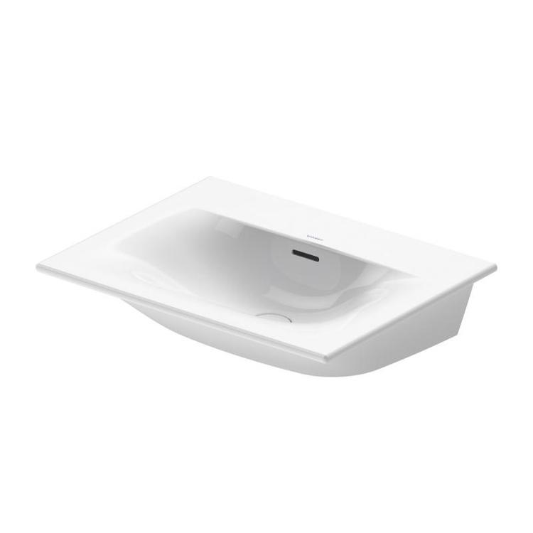 Duravit VIU lavamani consolle 53 cm, senza foro per rubinetteria, con troppopieno, con bordo per rubinetteria, lato inferiore smaltato, WonderGliss, colore bianco 23445300601