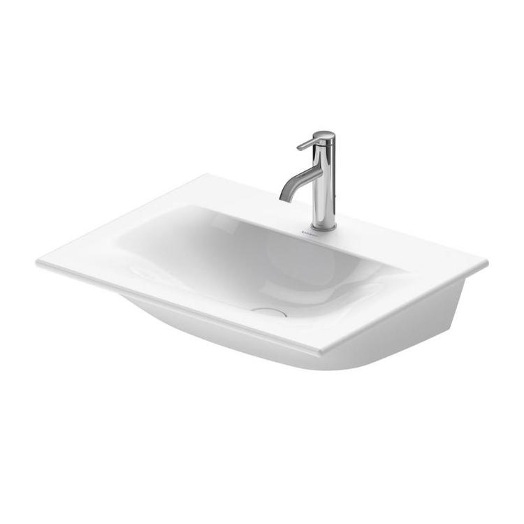 Duravit VIU lavamani consolle 45 cm, monoforo, senza troppopieno, con bordo per rubinetteria, lato inferiore smaltato, colore bianco 0733450041