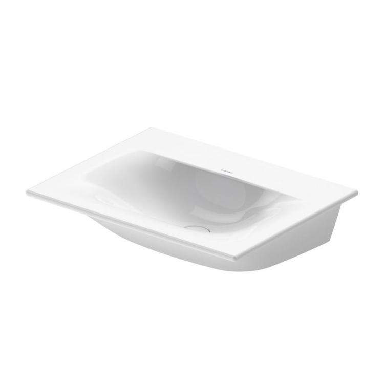 Duravit VIU lavamani consolle 45 cm, senza foro per rubinetteria, senza troppopieno, con bordo per rubinetteria, lato inferiore smaltato, WonderGliss, colore bianco 07334500701