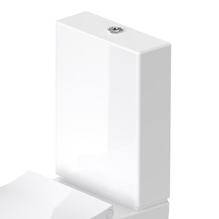 Duravit VIU cassetta di sciacquo con batteria Dual Flush, pulsante finitura cromato, per attacco sinistra nascosto, capacità di sciacquo 6/3 l, WonderGliss, colore bianco 09420000051