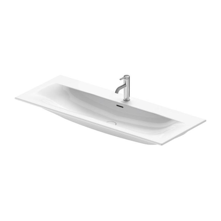 Duravit VIU lavabo consolle 123 cm, monoforo, con troppopieno, con bordo per rubinetteria, lato inferiore smaltato, WonderGliss, colore bianco 23441200001